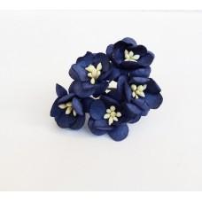 Цветок Вишни, цвет темно-синий 2,5 см, 5 шт.