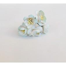 Цветок Вишни, цвет белый с голубым краем 2,5 см, 5 шт.