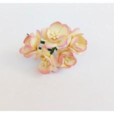Цветок Вишни, цвет желтый и розовый край 2,5 см, 5 шт.