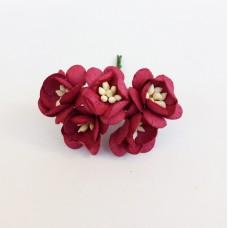 Цветок Вишни, цвет бордовый 2,5 см, 5 шт.