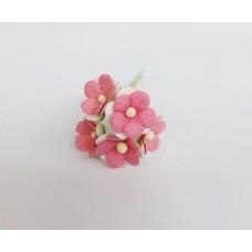Цветок Вишни маленький, цвет малиновый 1 см (Набор 5 шт.)