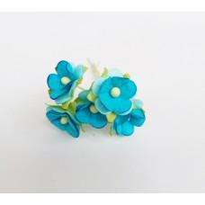Цветок Вишни маленький, цвет голубой 1 см (Набор 5 шт.)