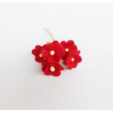 Цветок Вишни маленький, цвет красный 1 см (Набор 5 шт.)