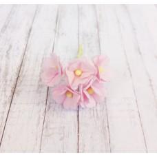 Цветок Вишни маленький, цвет розовый 1 см (Набор 5 шт.)
