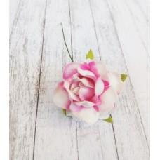 Цветок Розы с бархатными листьями, цвет бело-розовый 4 см, 1 шт.