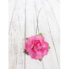 Цветок Розы с бархатными листьями, цвет фуксия 3 см, 1 шт.