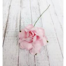 Цветок Розы с бархатными листьями, цвет розовый 4 см, 1 шт.