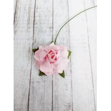Цветок Розы с бархатными листьями, цвет розовый 3 см, 1 шт.