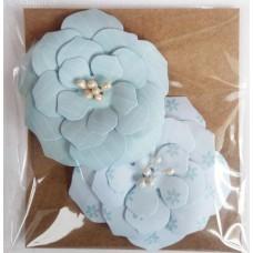 Набор бумажных цветочков 6х6см, (2 шт. в наборе). Цвет голубой и бирюзовый.