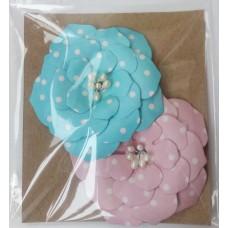 Набор бумажных цветочков 6х6см, (2 шт. в наборе). Цвет голубой и розовый.