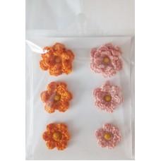 Набор вязаных цветочков 6 шт., 3 вида. Цвет оранжевый и капучино.