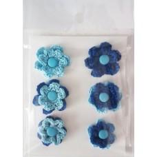 Набор вязаных цветочков 6 шт., двухслойные. Цвет голубой и темно-синий.