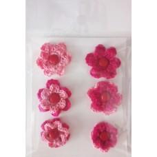 Набор вязаных цветочков 6 шт., двухслойные. Цвет розовый и малиновый.