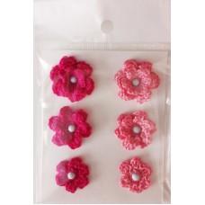 Набор вязаных цветочков 6 шт., 3 вида. Цвет розовый и малиновый.