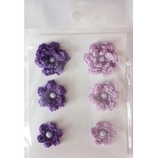 Набор вязаных цветочков 6 шт., 3 вида. Цвет фиолетовый и лаванда.