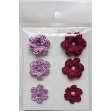 Набор вязаных цветочков 6 шт., 3 вида. Цвет сиреневый и бордовый.