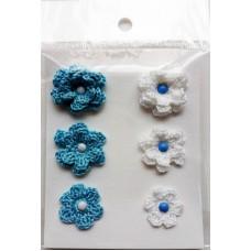 Набор вязаных цветочков 6 шт., 3 вида. Цвет белый и голубой.
