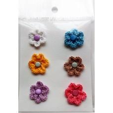Набор вязаных цветочков 6 шт., однослойные. Разноцветные.