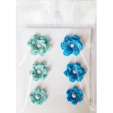 Набор вязаных цветочков 6 шт., 3 вида. Цвет мятный и ярко-голубой.
