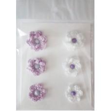Набор вязаных цветочков 6 шт., 3 вида. Цвет белый и сиреневый.
