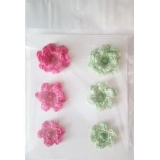Набор вязаных цветочков 6 шт., 3 вида. Цвет арбузный и светло-зеленый.