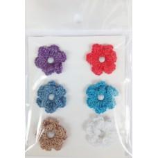 Набор вязаных цветочков № 2, 6 шт., двуслойные. Разноцветные.