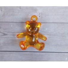 Подвеска Медвежонок акриловый 26x25x12 мм, Оранжевый