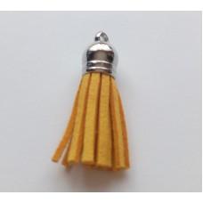 Подвеска кожаная кисточка цвет желтый 38 мм