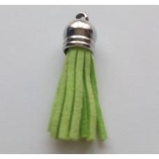 Подвеска кожаная кисточка цвет салатовый 38 мм
