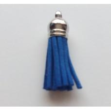 Подвеска кожаная кисточка цвет синий 38 мм