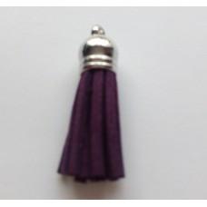 Подвеска кожаная кисточка цвет фиолетовый 38 мм