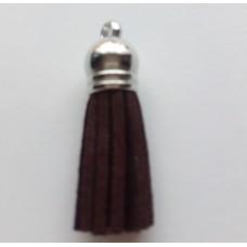 Подвеска кожаная кисточка цвет темно-коричневый 38 мм