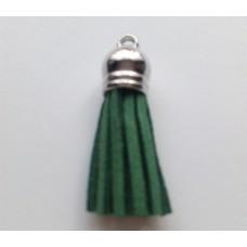 Подвеска кожаная кисточка цвет зеленый 38 мм