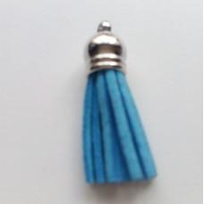 Подвеска кожаная кисточка цвет голубой 38 мм