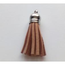 Подвеска кожаная кисточка цвет капучино 38 мм