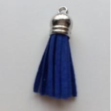 Подвеска кожаная кисточка цвет ярко-синий 38 мм