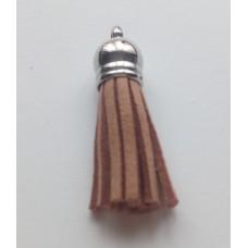 Подвеска кожаная кисточка цвет коричнево-бежевый 38 мм