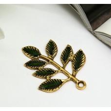 """Декор для творчества металл, эмаль """"Веточка с листьями"""" золото 3,4х2,7 см"""