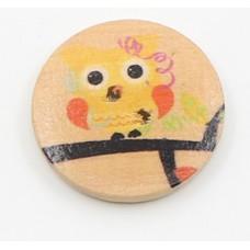 """Пуговица с двумя отверстиями декоративная дерево """"Сова желто-оранжевая"""", диаметр 30 мм"""