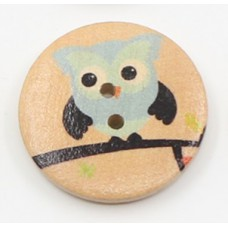 """Пуговица с двумя отверстиями декоративная дерево """"Сова синяя"""", диаметр 30 мм"""