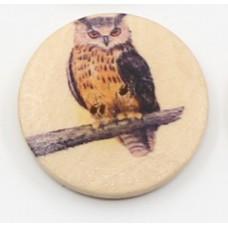 """Пуговица с двумя отверстиями декоративная дерево """"Сова классическая"""", диаметр 30 мм"""