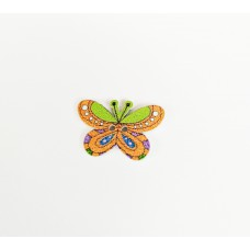 """Пуговица с двумя отверстиями декоративная дерево """"Бабочка"""", цвет оранжевый с зеленым"""