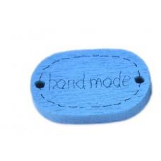 Деревянная пуговица-Ярлык Handmade овальная 19x12 мм (цвет синий)