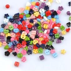 Пуговицы Ассорти, цветные, пластик,  Диаметр 6 мм (Набор 10 шт.)