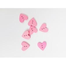 """Пуговица с двумя отверстиями декоративная дерево """"Сердце розовое"""", размер 2 см"""