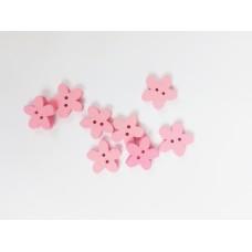"""Пуговица с двумя отверстиями декоративная дерево """"Цветок розовый"""", размер 1,5 см"""