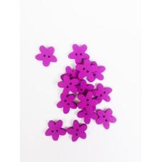 """Пуговица с двумя отверстиями декоративная дерево """"Цветок фиолетовый"""", размер 1,5 см"""