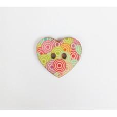"""Пуговица с двумя отверстиями декоративная дерево """"Сердце круги"""", диаметр 25 мм"""
