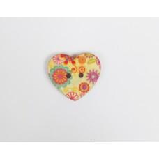 """Пуговица с двумя отверстиями декоративная дерево """"Сердце цветы"""", диаметр 25 мм"""