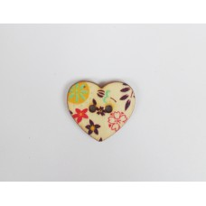 """Пуговица с двумя отверстиями декоративная дерево """"Сердце цветы, веточки"""", диаметр 25 мм"""